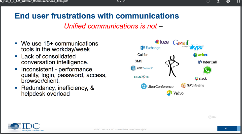 End user frustrations with communications